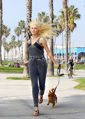 Ireland Baldwin - Walking her dog in Venice Beach