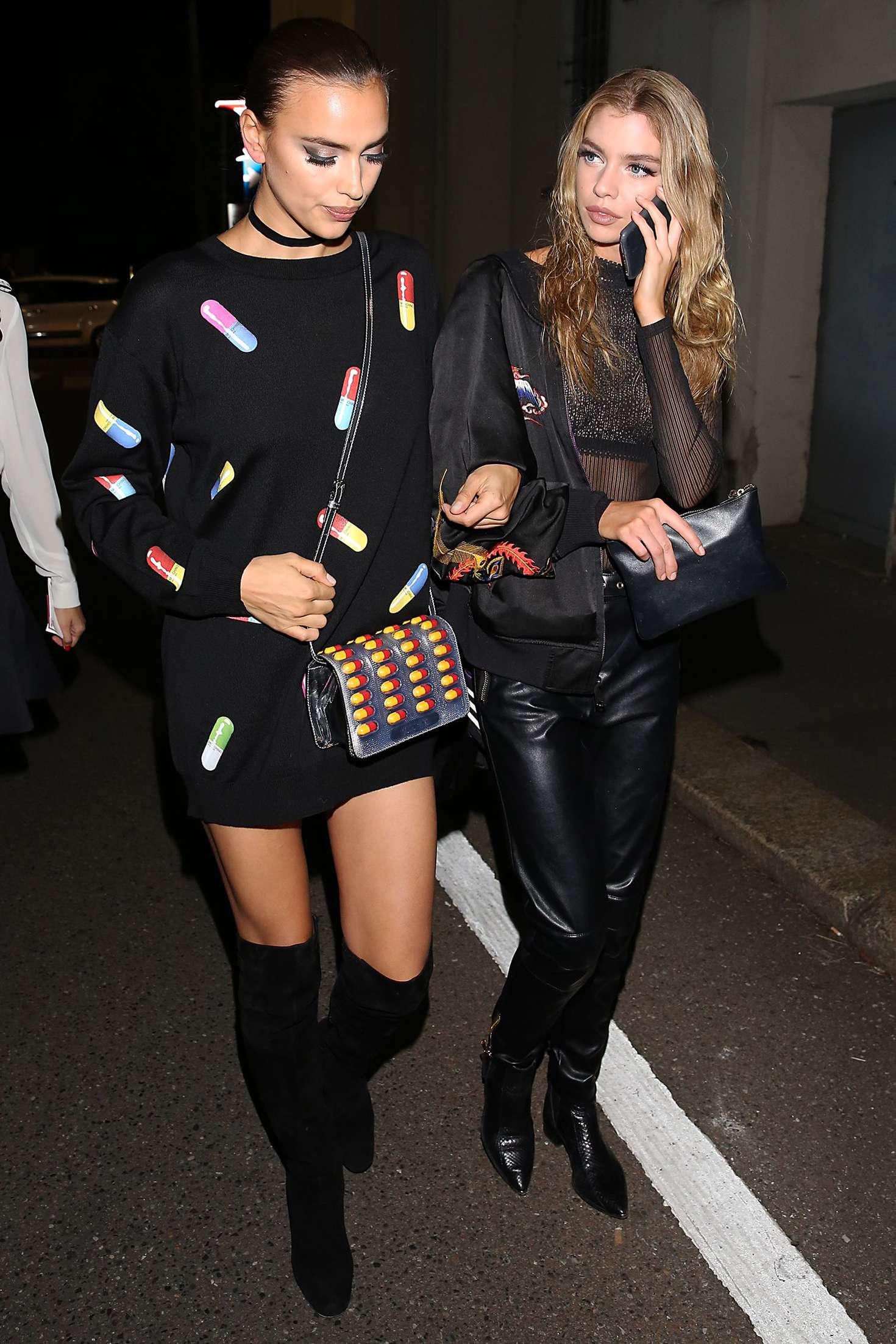 Irina Shayk 2016 : Irina Shayk and Stella Maxwell Leaving Moschino Show 2017 at Milan Fashion Week -03