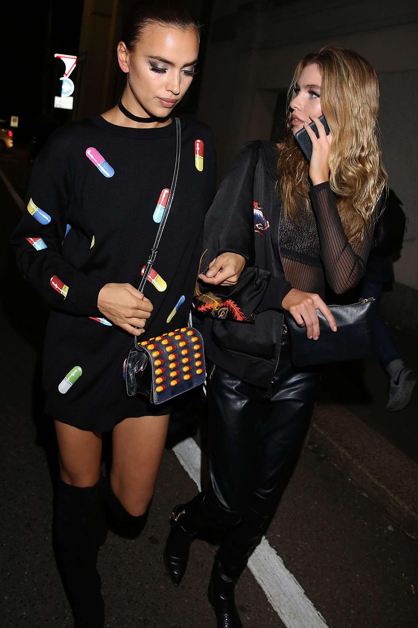 Irina Shayk 2016 : Irina Shayk and Stella Maxwell Leaving Moschino Show 2017 at Milan Fashion Week -09