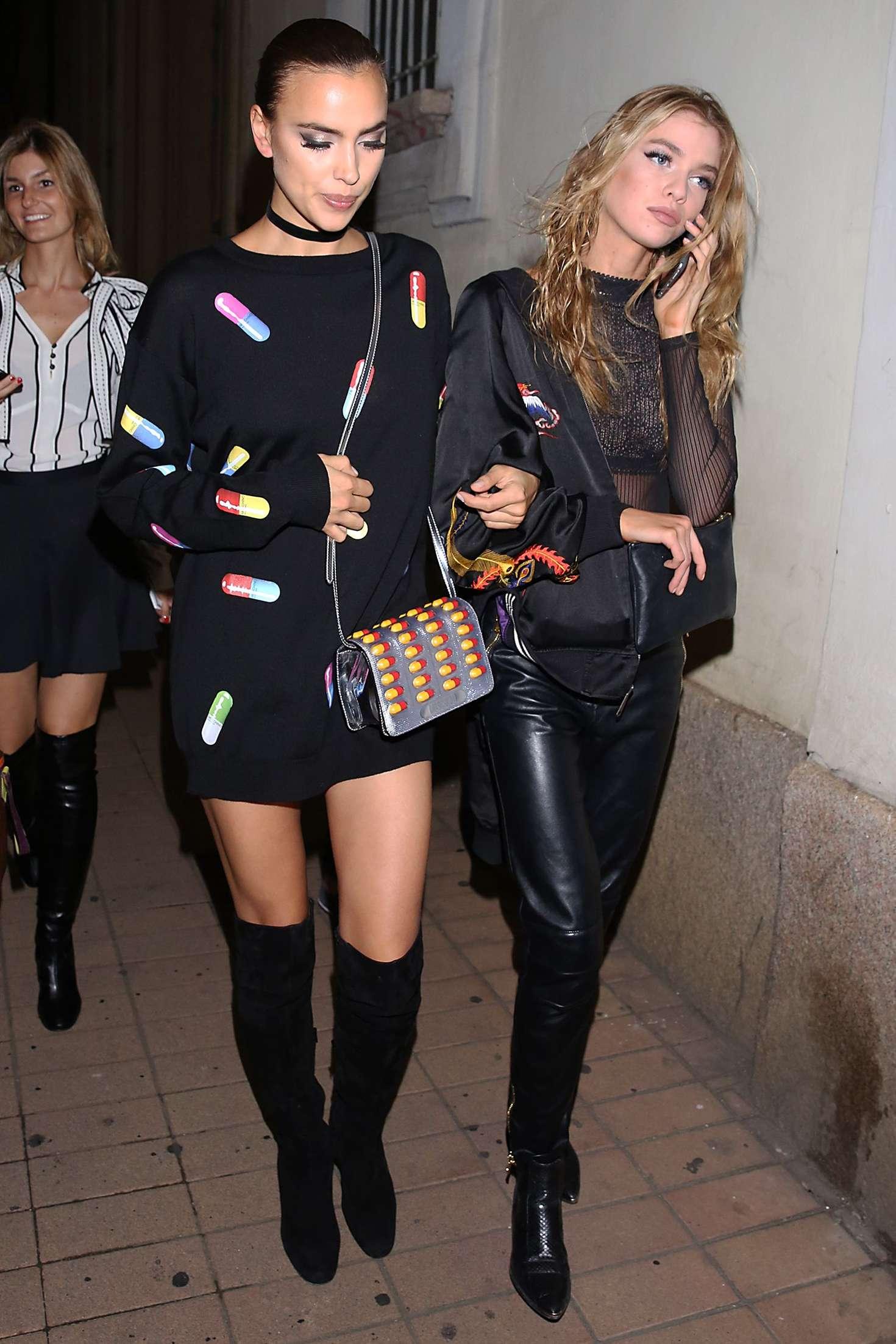 Irina Shayk 2016 : Irina Shayk and Stella Maxwell Leaving Moschino Show 2017 at Milan Fashion Week -16