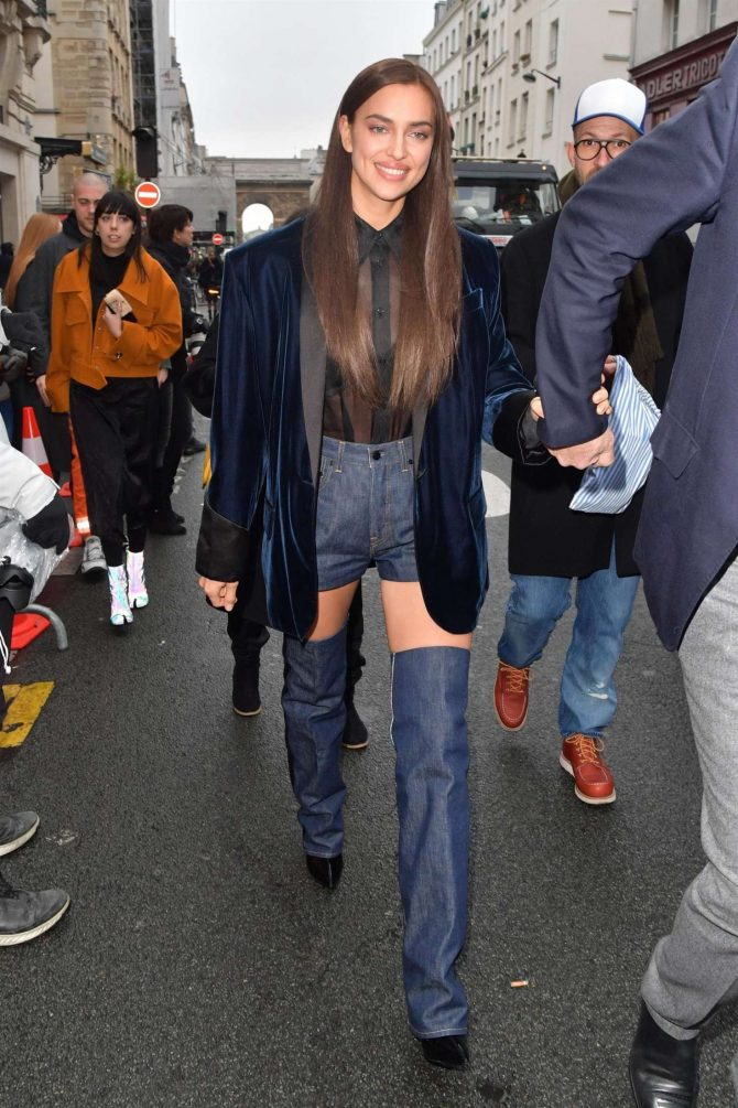 Irina Shayk: Arrives at the Jean-Paul Gaultier Fashion Show -03