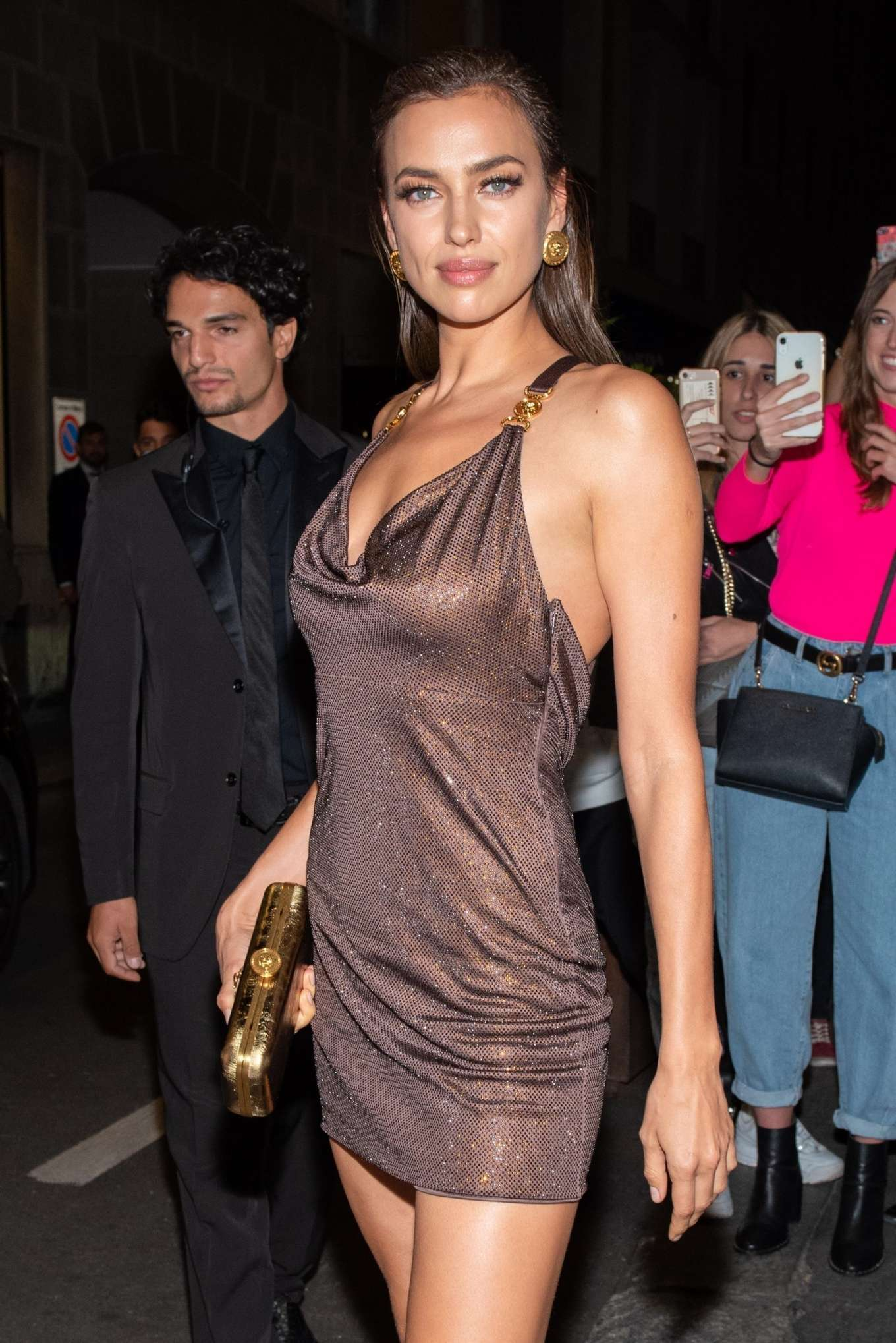 Irina Shayk - Arrives at Versace Show in Milan