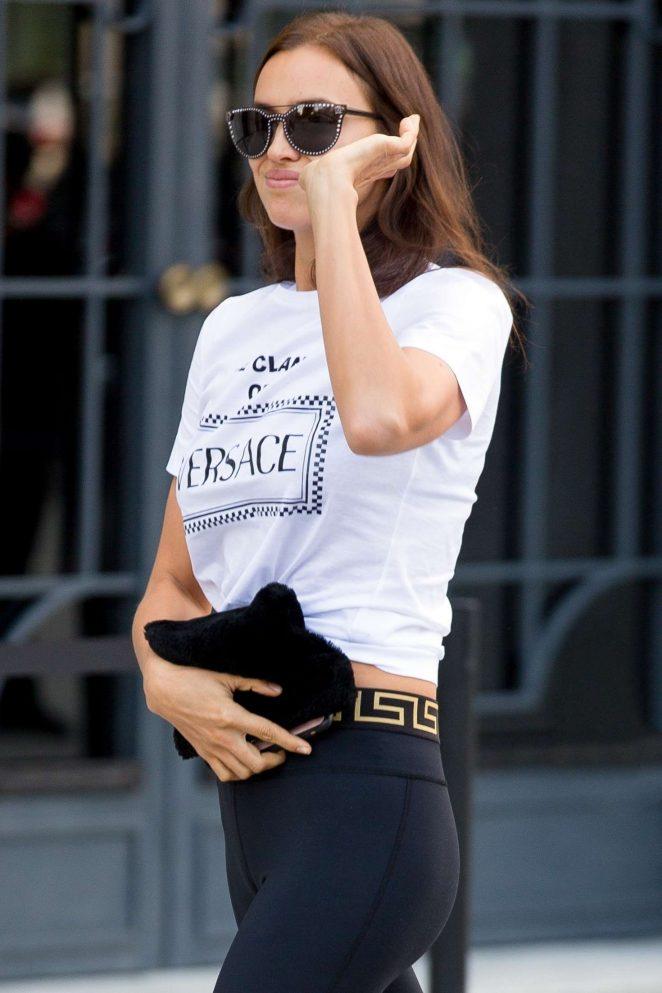 Irina Shayk - Arriving at the Versace Fashion Show in Milan