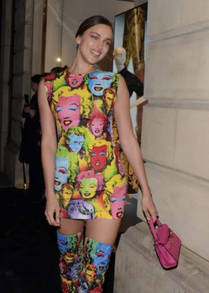Irina Shayk - Arriving at Versace Launch Party in London