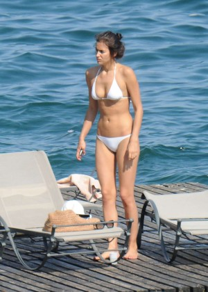 Irina Shayk in White Bikini in Italy