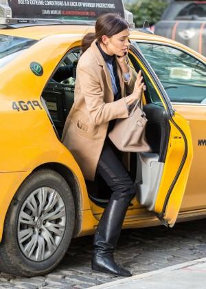 Irina Shayk catching a cab in New York
