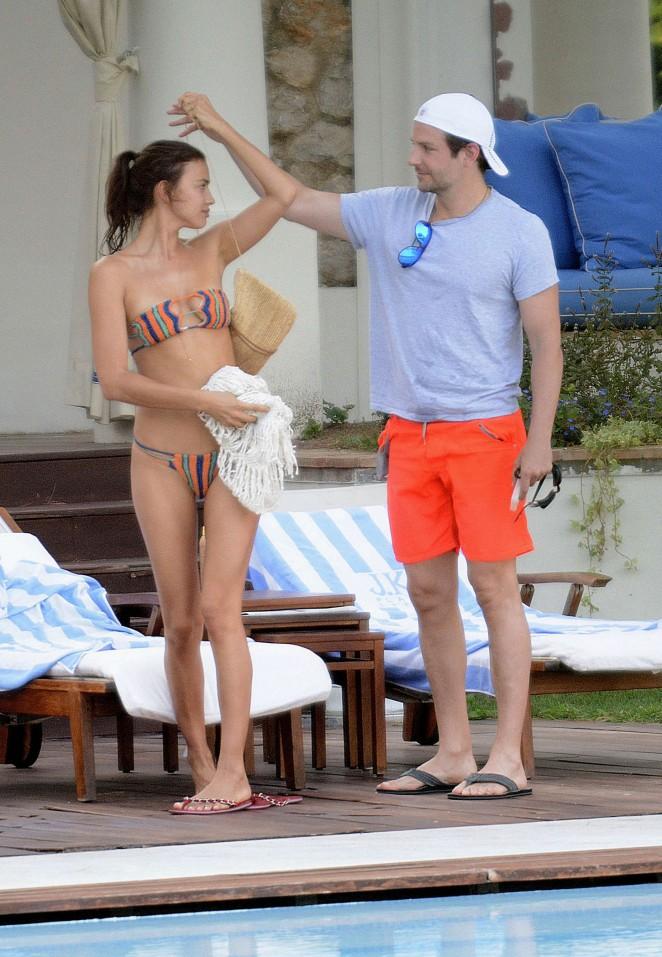 Irina Shayk in a Bikini at a Pool in Capri
