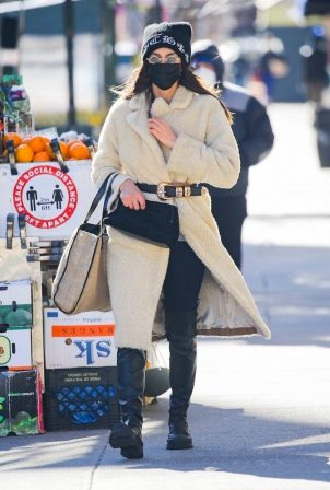 Irina Shayk - In a Max Mara and Chrome Hearts out in New York