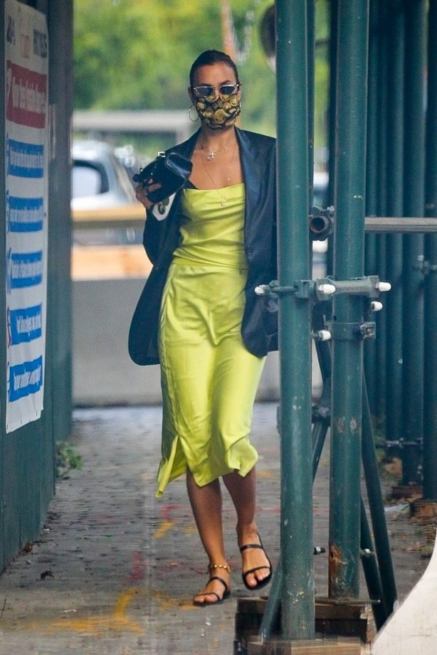 Irina Shayk - In a neon yellow dress out in New York
