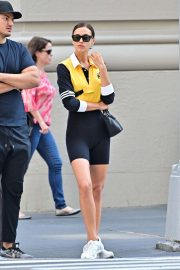 Irina Shayk in Bicycle Tights and Yellow Sport Top - Out in New York City