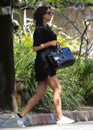 Irina Shayk in Black Mini Dress Out in Pacific Palisades
