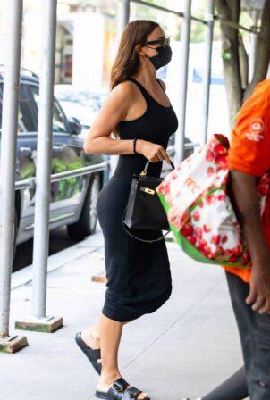 Irina Shayk - In black tight dress seen out in New York City