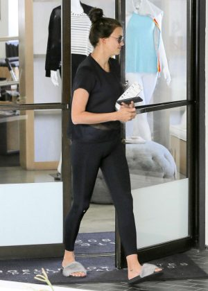Irina Shayk in Black Tights out in Santa Monica