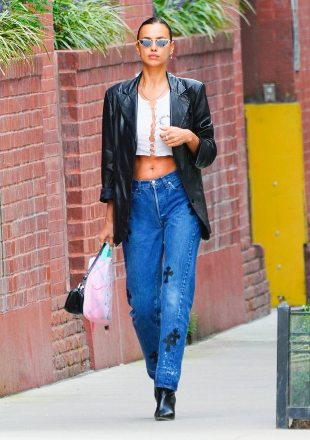 Irina Shayk - In blue jeans pants out in New York