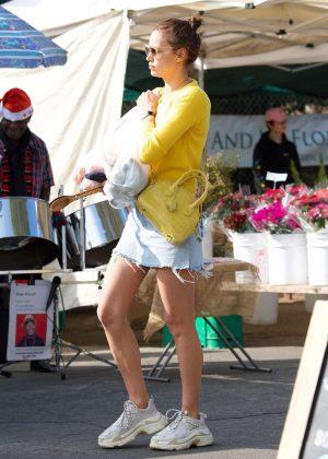 Irina Shayk in Denim Mini Skirt - Shopping in Brentwood