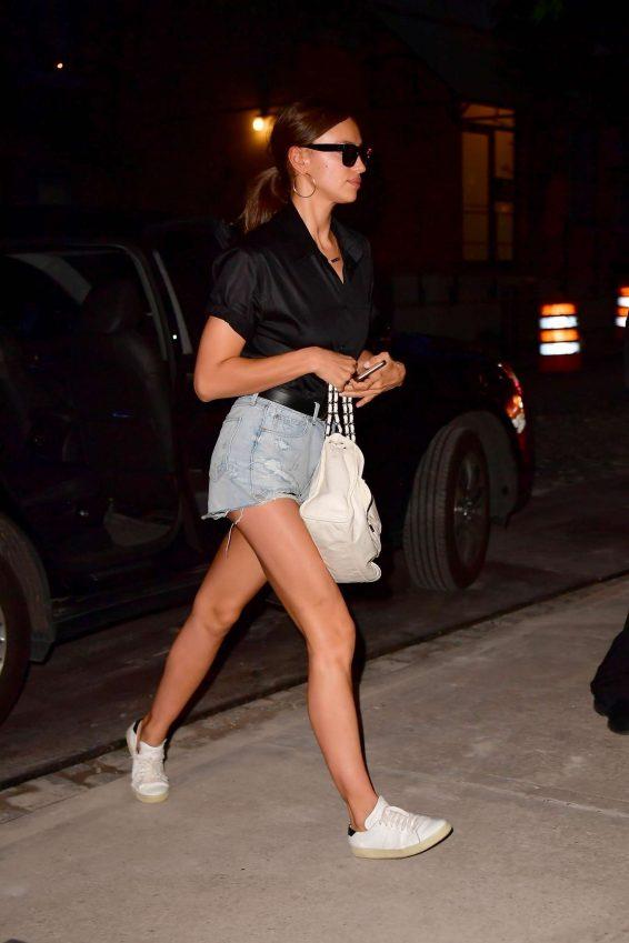 Irina Shayk in Denim Shorts - Out in New York