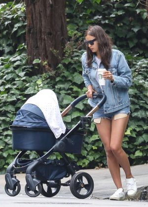 Irina Shayk in Jeans Shorts out in Pacific Palisades