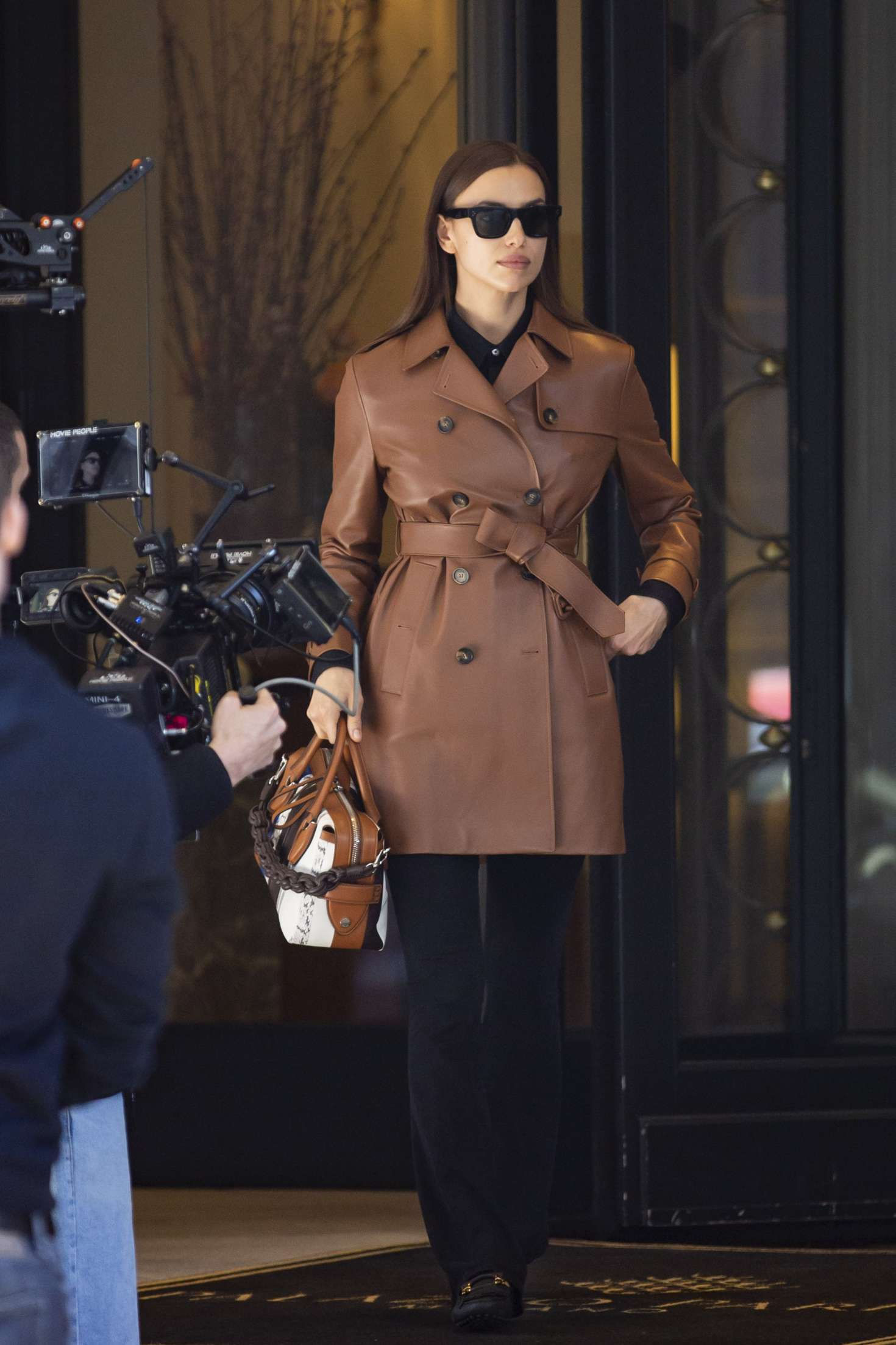 Irina Shayk in Leather Coat - Out in Milan