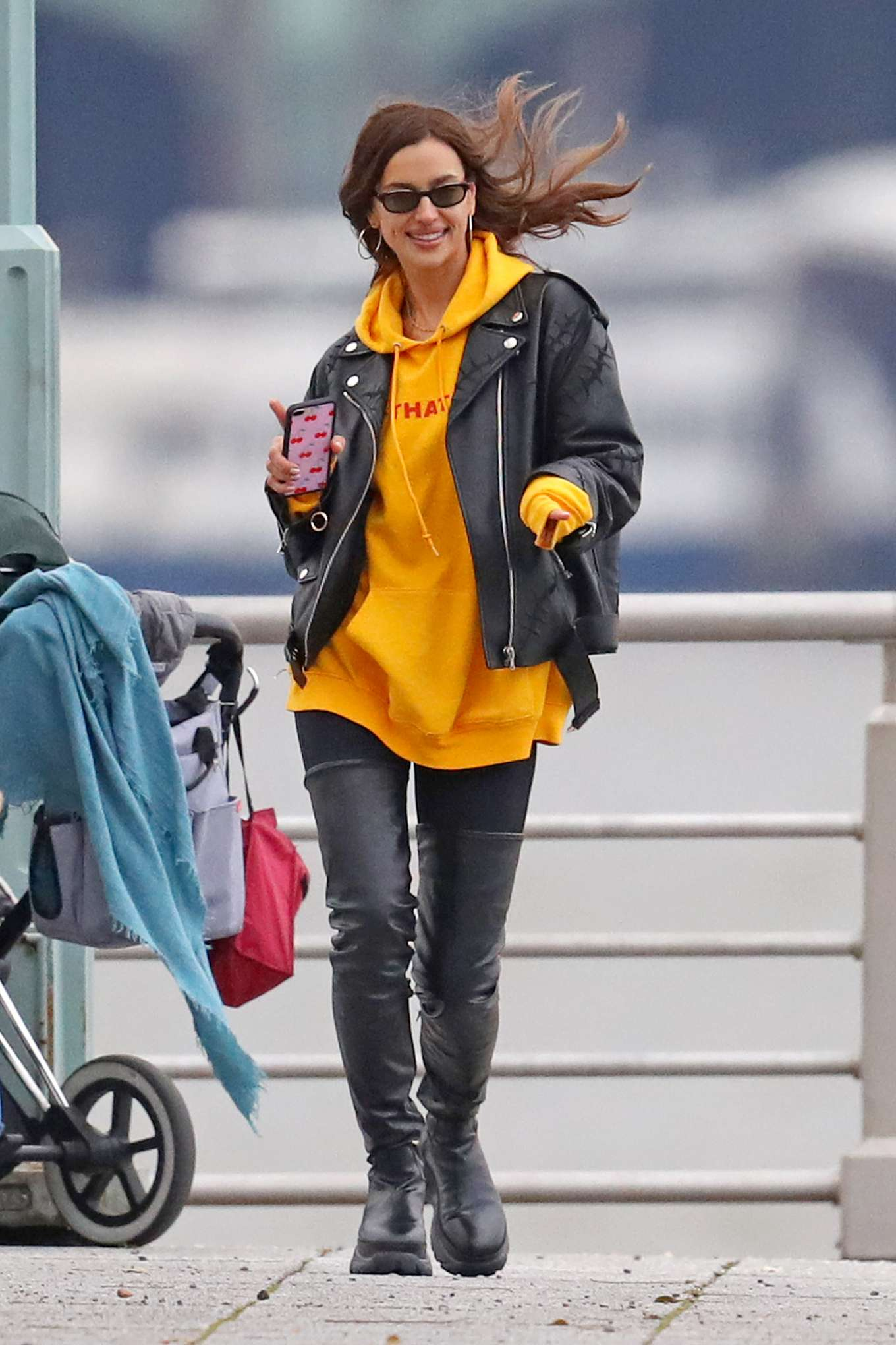 Irina Shayk in Leather Jacket and Hight Boots - Out in New York