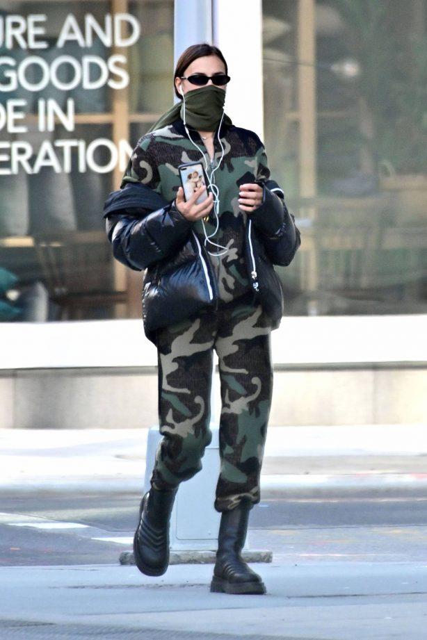 Irina Shayk - In Military Look during lockdown in New York City