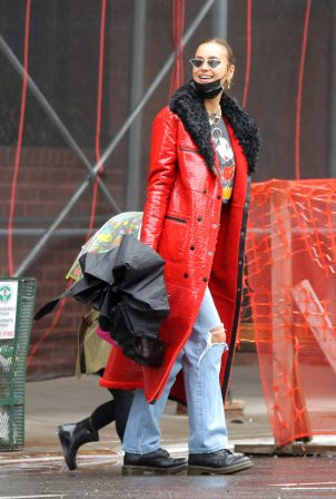 Irina Shayk - In red coat on rainy day in West Village in New York
