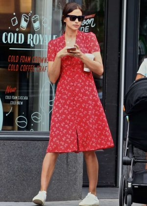 Irina Shayk in Red Dress - Out in New York