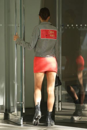Irina Shayk in Red Mini Dress - Out in New York