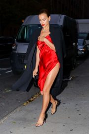Irina Shayk in Red Satin Dress - Leaving a photoshoot in New York City