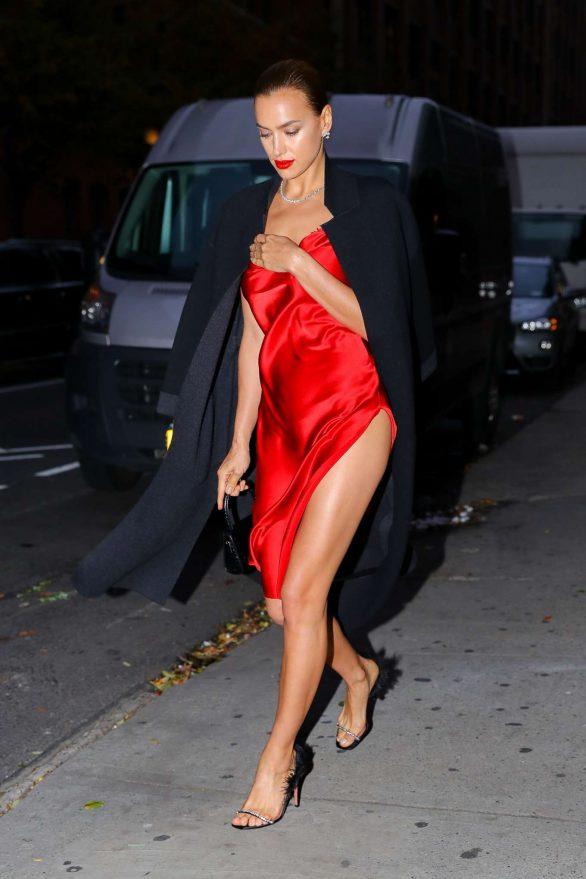 Irina Shayk in Red Satin Dress - Leaving a photoshoot in New York City