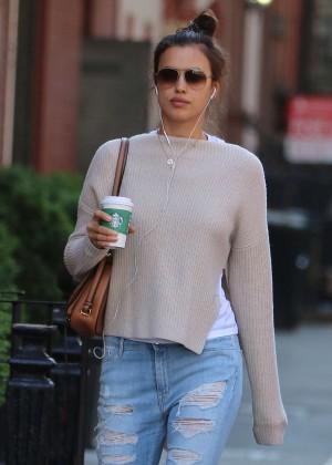 Irina Shayk in Ripped Jeans at Starbucks in NY