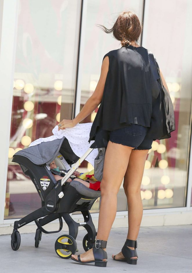 Irina Shayk in Shorts with her daughter in Los Angeles