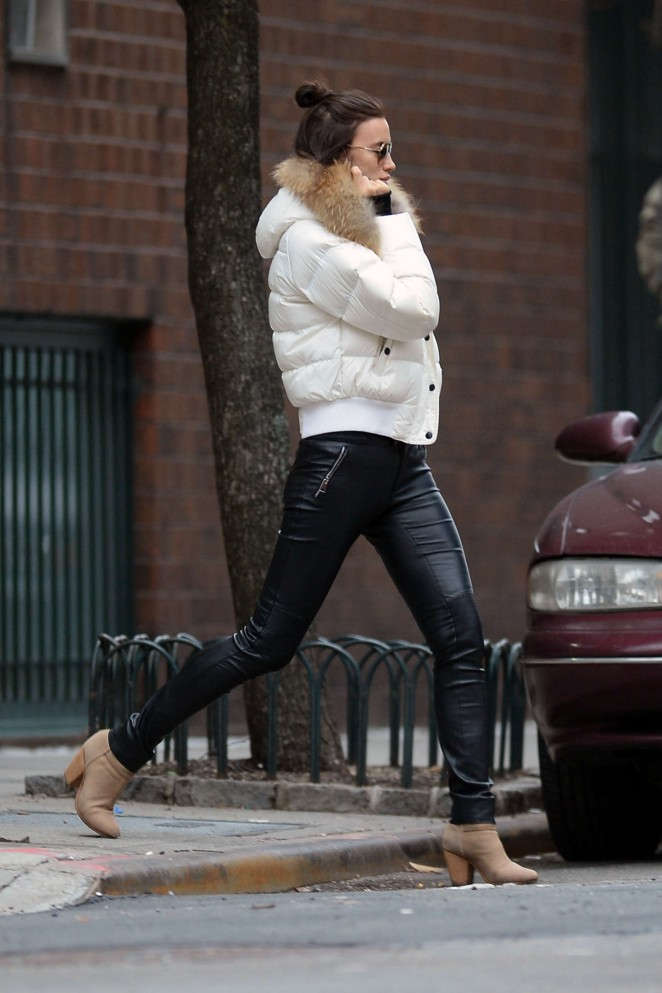 Irina Shayk in tight leather pants in New York
