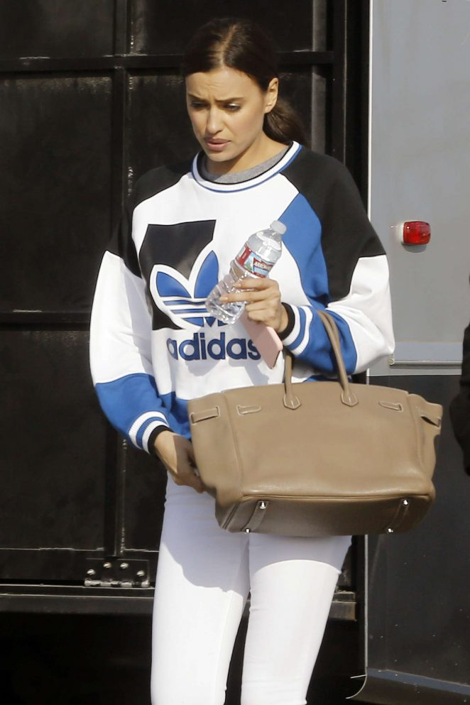 Irina Shayk in White Tights Leaving a studio in Los Angeles
