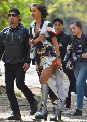 Irina Shayk on a set of photoshoot in NY
