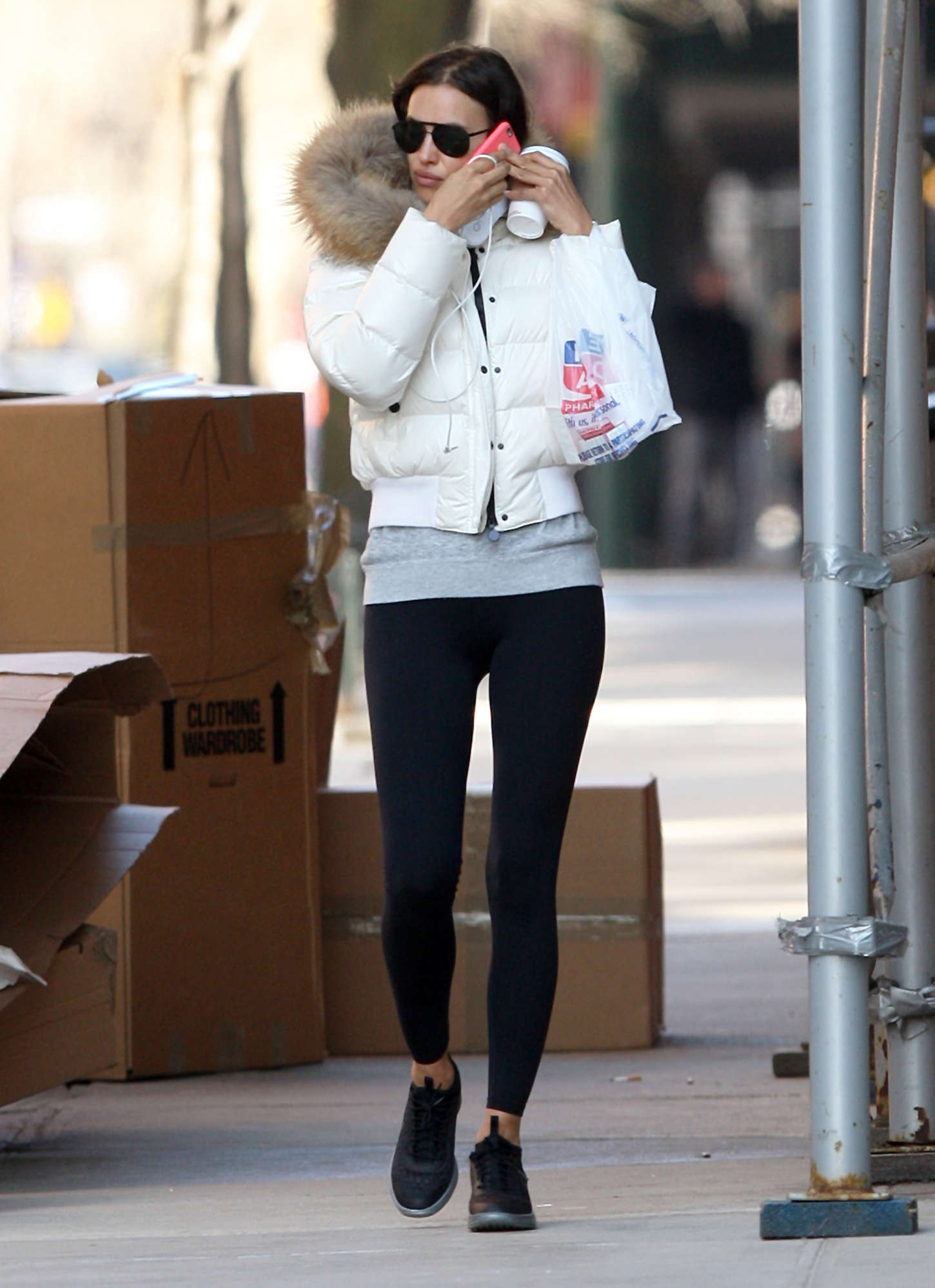 Irina Shayk in Leggings Out in NYC