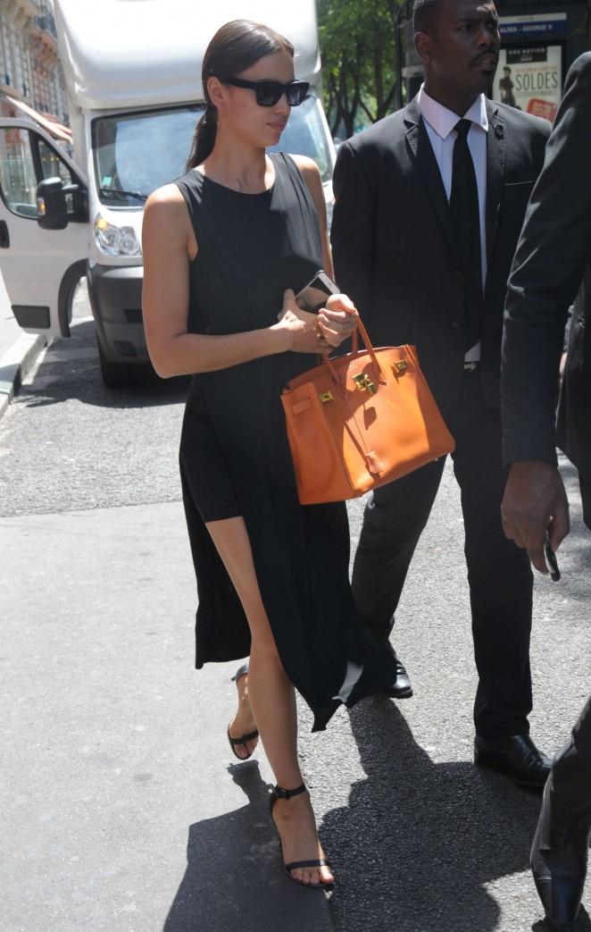 Irina Shayk in Black Dress Out in Paris