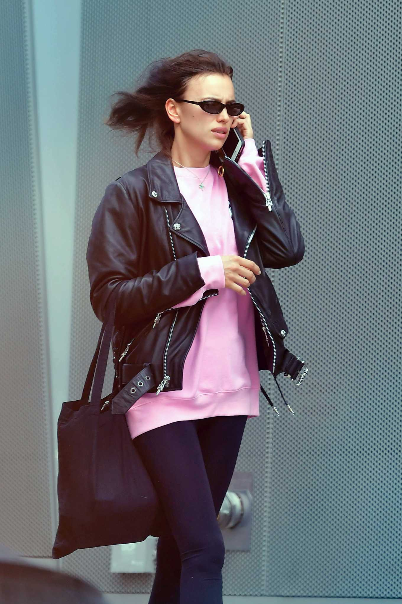 Irina Shayk - Out on a windy day in New York