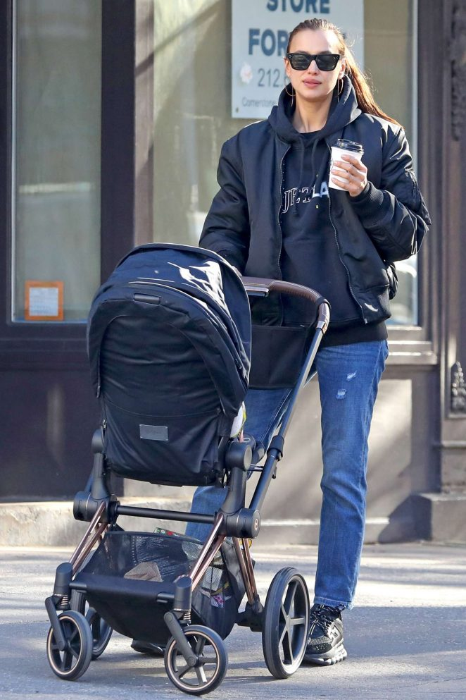 Irina Shayk - Out with her baby Lea in NYC
