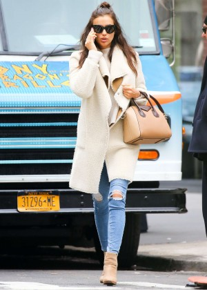 Irina Shayk in Ripped Jeans out in New York