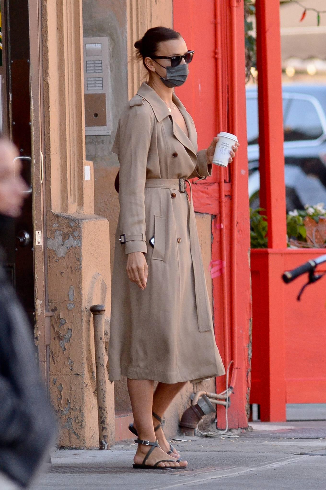 Irina Shayk 2021 : Irina Shayk – Wearing a camel trench coat in New York-02