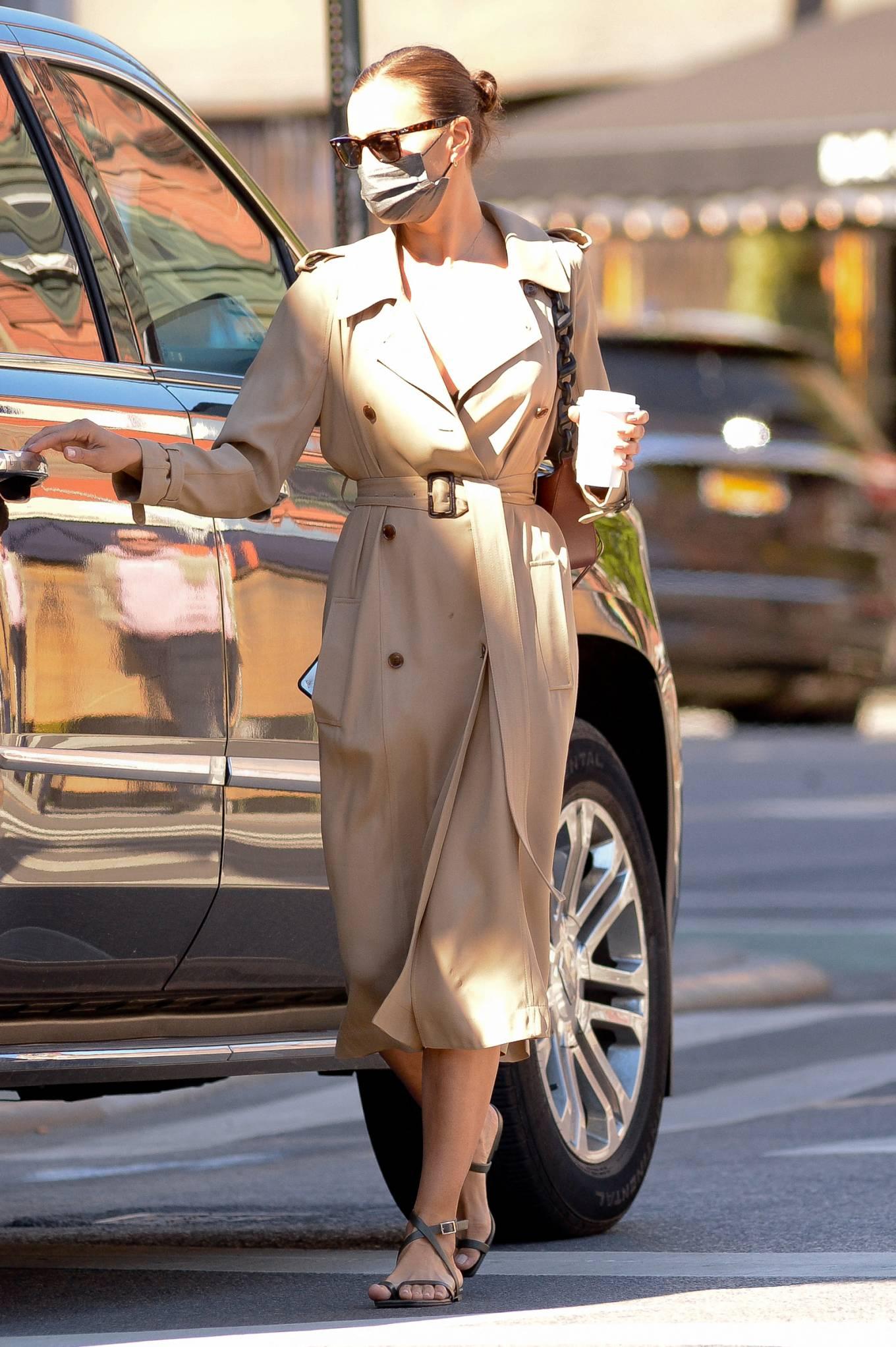 Irina Shayk 2021 : Irina Shayk – Wearing a camel trench coat in New York-11