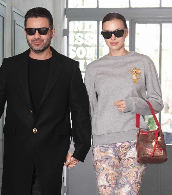 Irina Shayk with a mystery man while out during Milan Fashion Week