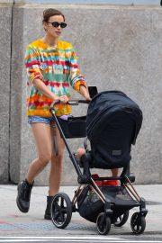 Irina Shayk - With her daughter Lea in New York