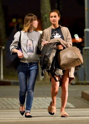 Irina Shayk with her friend in New York City
