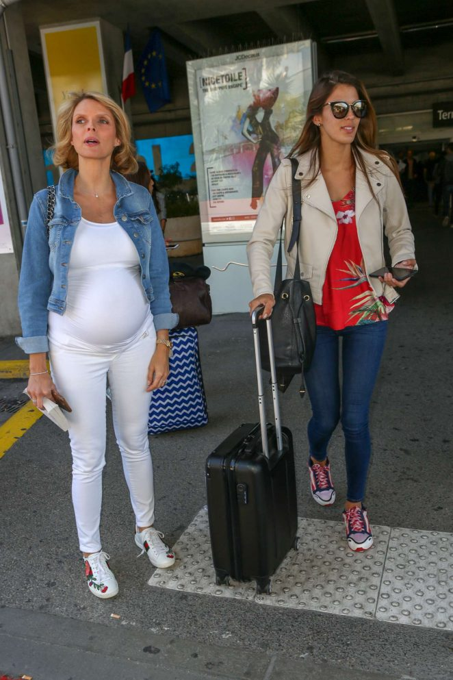 Iris Mittenaere and Sylvie Tellier - Arriving at Nice Airport