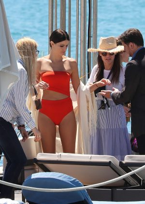 Isabeli Fontana in Red Bikini at a photoshoot in Cannes
