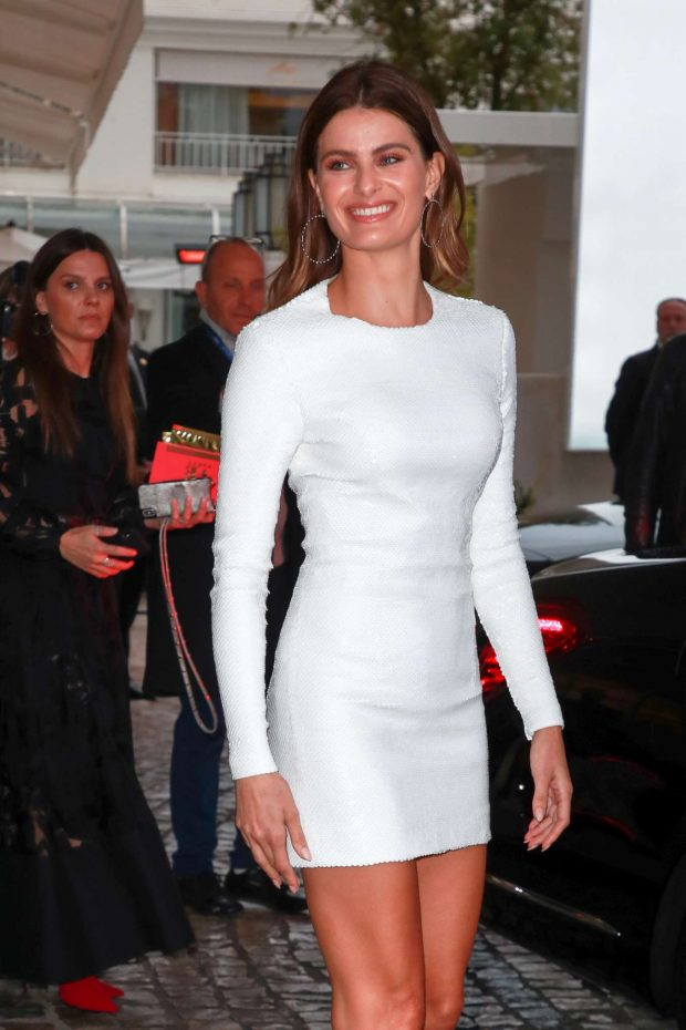 Isabeli Fontana in White Mini Dress at the Martinez hotel in Cannes