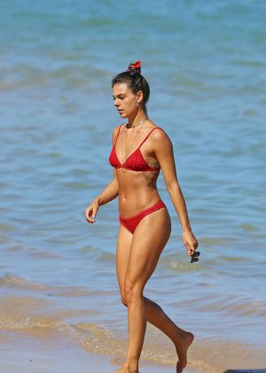 Isis Valverde in Red Bikini on the beach in Hawaii