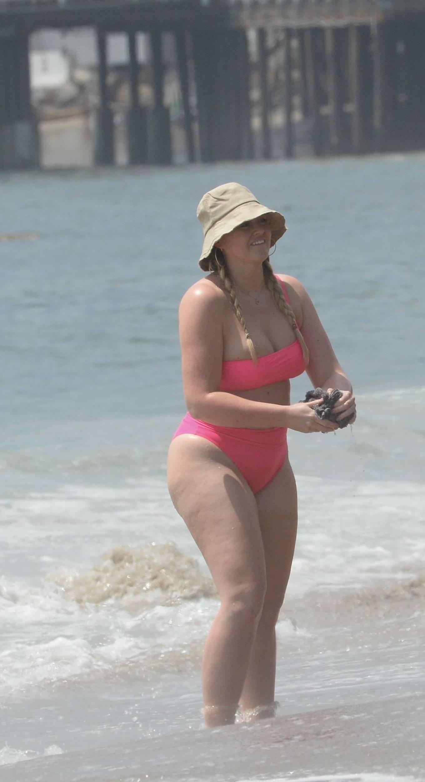 Iskra Lawrence in a pink bikini in Malibu