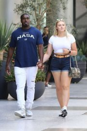 Iskra Lawrence in Denim Shorts - Shopping in Century City